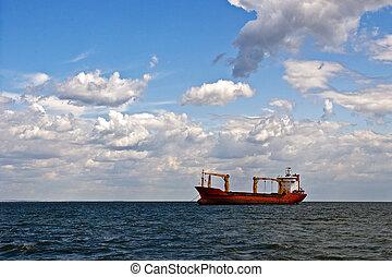 タンカー, 船, 中に, 外海