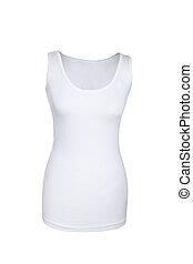 タンク, 背景, 上, 隔離された, くぼみ, 女性, 白いシャツ