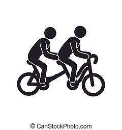 タンデム, セット, 自転車, pictograms, 人々