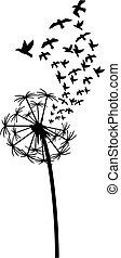 タンポポ, 鳥, イラスト, ベクトル