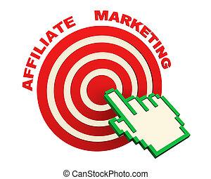 ターゲットマーケティング, 手, カーソル, affiliate, 3d