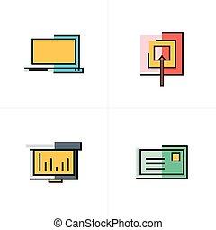 ターゲット, アイコン, グラフ, ラップトップ, デザイン, メール