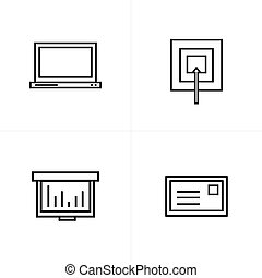 ターゲット, アイコン, スタイル, グラフ, ラップトップ, メール, 線