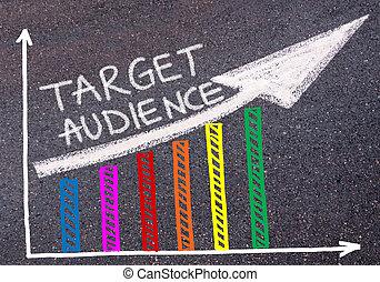 ターゲット, カラフルである, グラフ, 上に, 書かれた, 聴衆, 上昇, 矢