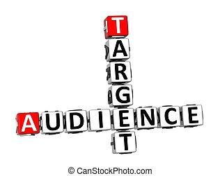 ターゲット, クロスワードパズル, 聴衆, 背景, 白, 3d