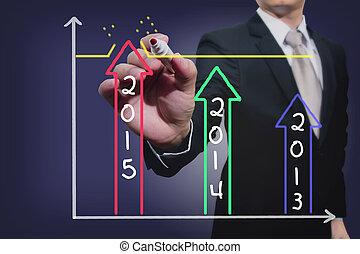 ターゲット, グラフ, 上に, ビジネスマン, 図画, 達成