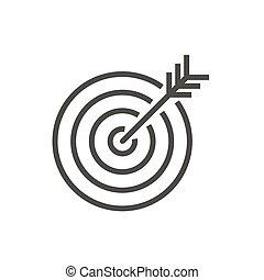 ターゲット, ゴール, シンボル。, vector., 線, アイコン