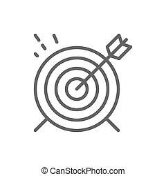 ターゲット, ゴール, 隔離された, icon., 背景, 白いライン