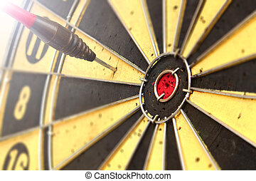 ターゲット, ダート盤, さっと動きなさい, ヒッティング, 矢, 赤, 中心