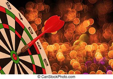 ターゲット, ダート盤, さっと動きなさい, ライト, bokeh, 矢, 休日, クリスマス, 赤