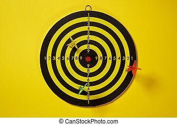 ターゲット, ダート盤, 矢, ヒッティング, 黄色, 緑, さっと動く, 赤