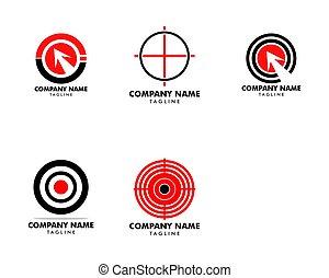 ターゲット, テンプレート, ベクトル, ロゴ, デザイン, セット, アイコン