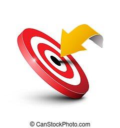 ターゲット, ビジネス, マーケティング, concept., シンボル。, ベクトル, 中心点, 矢, ロゴ, icon., design.