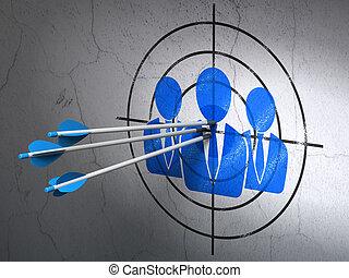 ターゲット, ビジネス 人々, 壁, 矢, 広告, 背景, concept:
