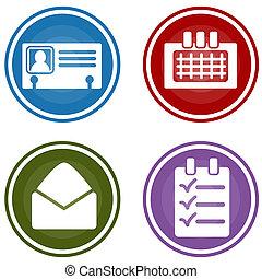ターゲット, ビジネス, 個人的, パターン, ボタン, 組織者