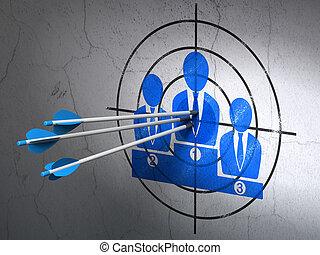 ターゲット, ビジネス, 壁, マーケティング, 矢, 背景, チーム, concept: