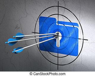 ターゲット, ビジネス, 壁, 矢, 鍵穴, 背景, フォルダー, concept: