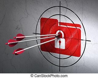 ターゲット, ビジネス, 壁, 錠, 矢, 背景, フォルダー, concept: