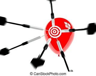 ターゲット, ビジネス, 成功, 念願, 矢, 風船
