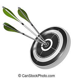 ターゲット, 中心, render, イメージ, 矢, 3, 同じ, ヒッティング, 緑の背景, 黒, 白, 上に, 3d