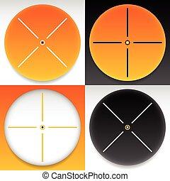 ターゲット, 印, set., 十字照準線, ベクトル, graphics.