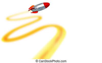 ターゲット, 回転, 軌道, 長い間, ミサイル, レンダリング, -3d