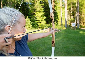 ターゲット, 女性, 射手, 森林, 矢, 狙いを定める, 板