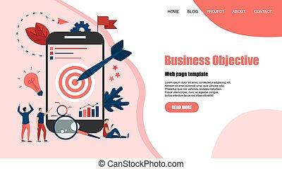 ターゲット, 概念, 衝突, ゴール, ビジネス, web ページ, イラスト, template., 矢, ベクトル, 目的, achievement.