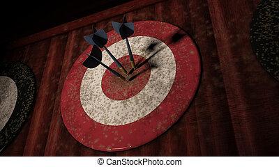 ターゲット, 矢, さっと動きなさい, ヒッティング, 3, 板, 赤