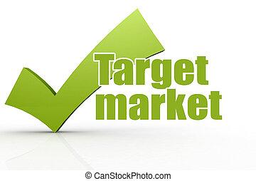 ターゲット, 緑, checkmark, 単語, 市場