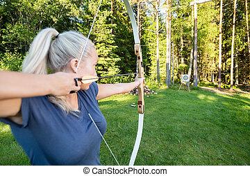 ターゲット, 運動選手, 女性, 森林, 矢, 狙いを定める, 板
