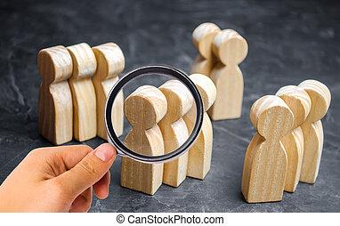 ターゲット, 関係, マーケティング, グループ, グループ, buyers., 概念, 分析, segmentation, 人々。, 管理, 木製である, 顧客, 市場, care., segmentation., 聴衆