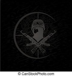 ターゲット, 顔, 軍, 自動, 銃, 人