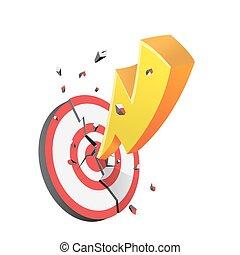 ターゲット, 黄色, ベクトル, 破壊しなさい, 火花, 赤