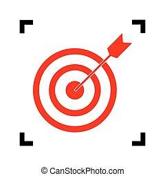 ターゲット, isolated., コーナー, dart., フォーカス, バックグラウンド。, 黒, vector., 白, 中, 赤, アイコン