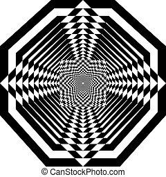 ターゲット, tridimensional, pseudo, 背景, 錯覚, アラベスク, タワー, octogon, ...
