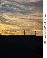 タービン, 日没, eolic, イタリア, campania, salerno, 田舎, エネルギー