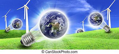 タービン, 風, 生産, 農場, 世界, エネルギー