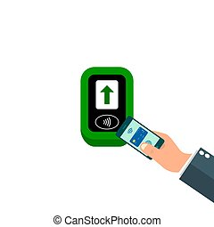 ターミナル, システム, nfc., ∥あるいは∥, icon., contactless, 支払い, デジタル, 給料...
