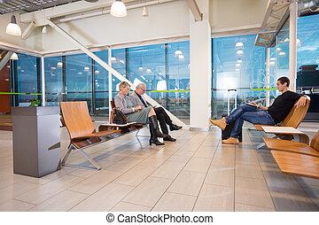ターミナル, 乗客, 待つこと, 飛行, 空港