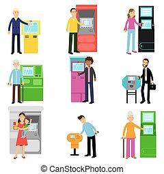 ターミナル, 女, 人々, セット, お金, atmマシン, ベクトル, 堆積, 撤退, イラスト, 使うこと, ∥あるいは∥, 人