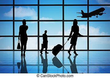 ターミナル, 空港, ビジネス 人々