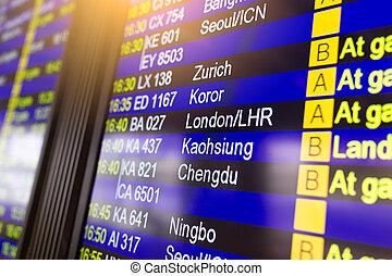 ターミナル, 空港, 板, 出発, ディスプレイ