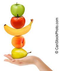 ダイエットする, グループ, 手。, フルーツ, vector., 新たに, concept.