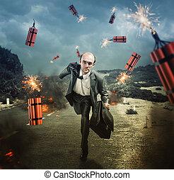 ダイナマイト, 爆発する, 逃げる, 人
