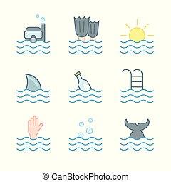 ダイバー, fish, プール, 波, swimming., icons., シンボル, コレクション, 海, 夏