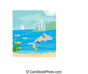 ダイビング, 男の子, イルカ, 水中