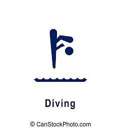 ダイビング, icon., スポーツ, pictogram, 新しい
