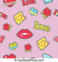 ダイヤモンド, ばら, パターン, 唇, seamless, 心