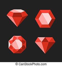 ダイヤモンド, セット, アイコン, ベクトル, ルビー, ∥あるいは∥, 赤